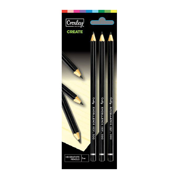 PENCIL HB 3'S PCL70CC CARDED CROXLEYPCL