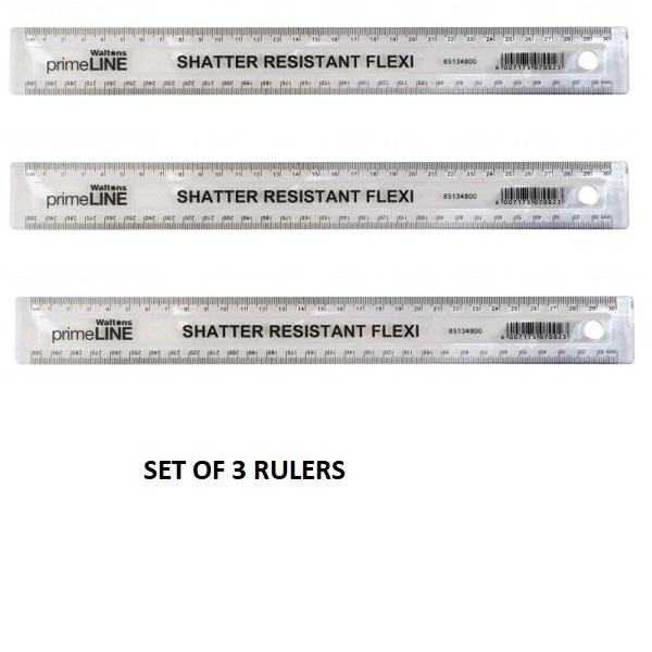 RULER PLASTIC 30CM SET OF 3