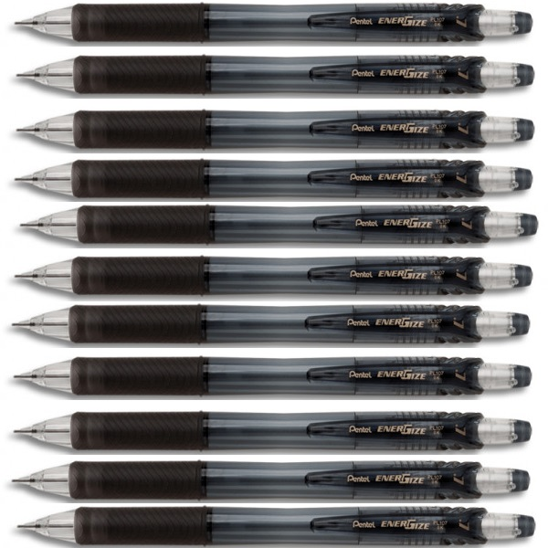 PENCIL CLUTCH PL107 ENERGIZE 0.7 BLACK PENTEL X 10