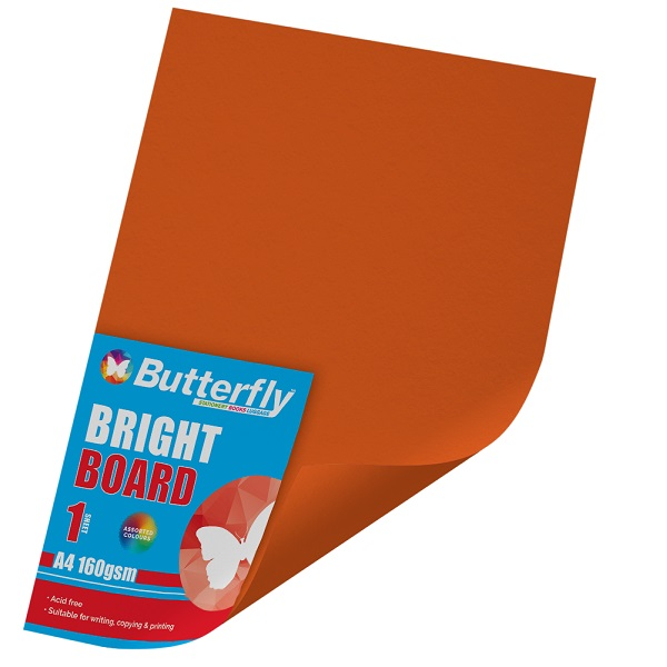 PAPER BOARD A1 BRIGHT ORANGE BRD234 160GSM WRAPPED