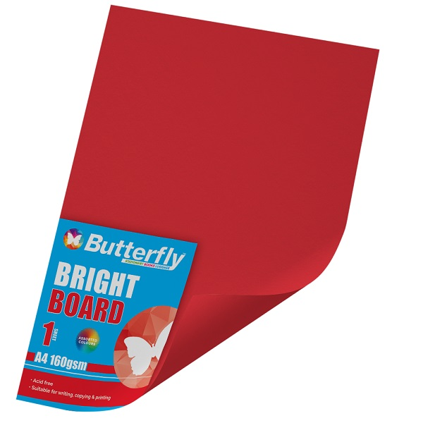 PAPER BOARD A1 BRIGHT RED BRD234 160GSM B/FLY-WRAP