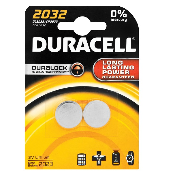 BATTERIES DURACELL 3V LITHEUM CR2032 - PACK 2