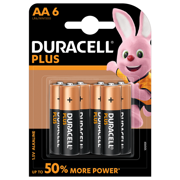 BATTERIES DURACELL PLUS AA PACK-6= 63-0206-00