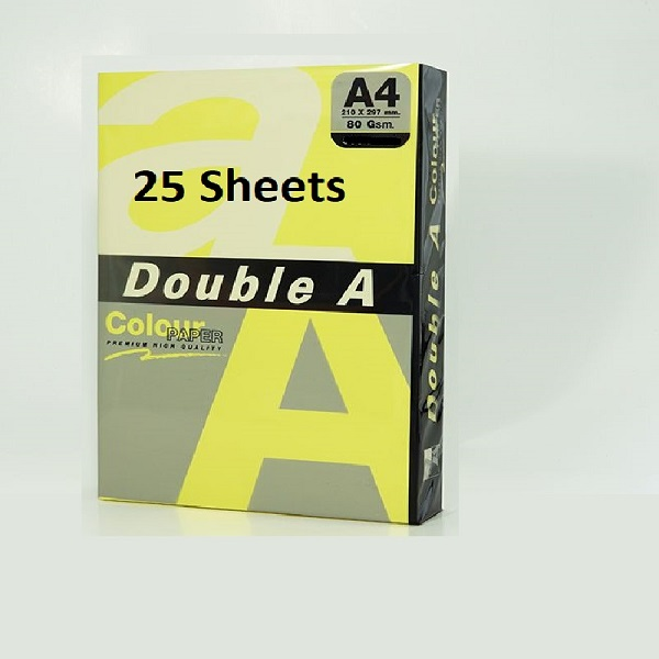 PAPER COLOUR DOUBLE A NEON YELLOW A4 80GSM