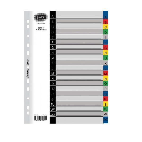 FILE DIVIDERS BANTEX 20-DIV PVC ASS 6013-00 B6013-